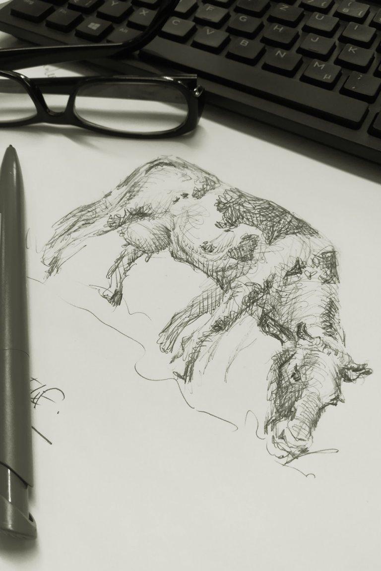 Kuh gemalt mit einem Kugelschreiber