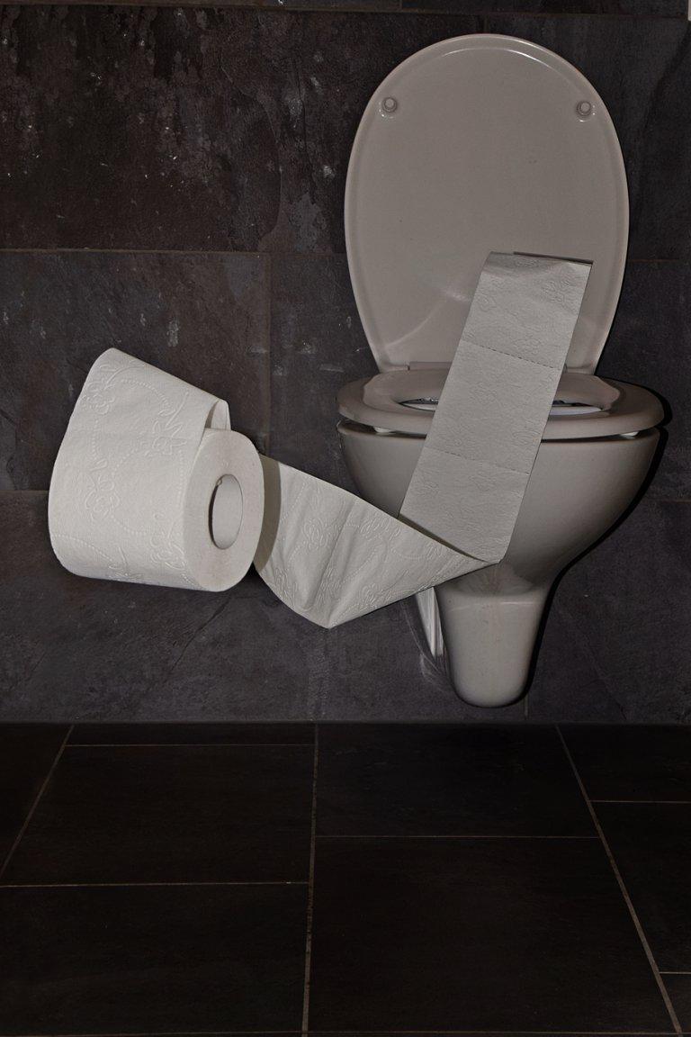 Fliegende Toilettenpapierrolle