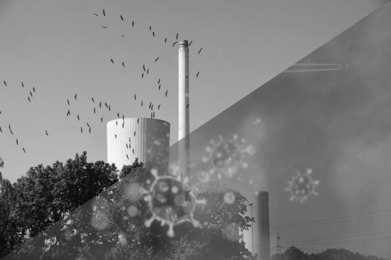 Stillstehendes Energiewerk. Schmutzige Luft, saubere Luft
